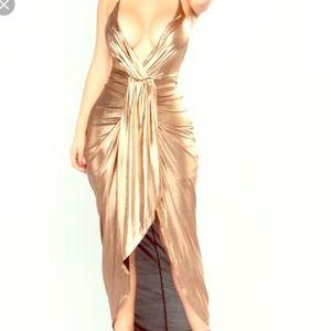 Fashion Nova high-Low gold dress